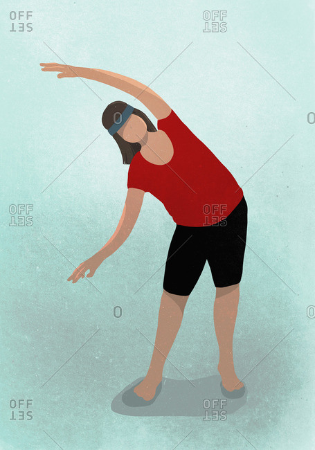 Vector image of woman stretching while practicing yoga against blue background