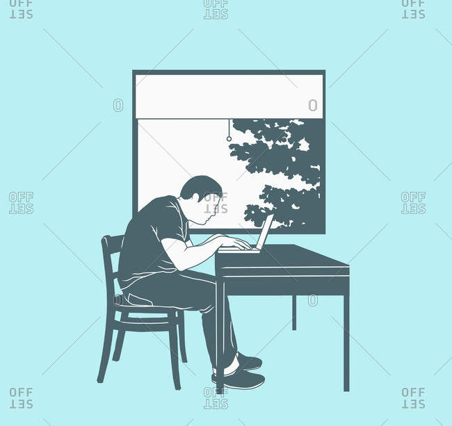 Illustration of man using laptop against window representing working at home