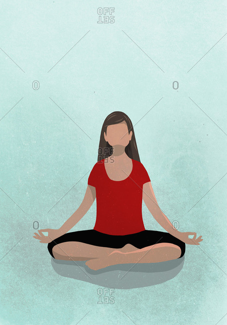 Vector image of woman sitting in lotus position against blue background depicting healthy lifestyle