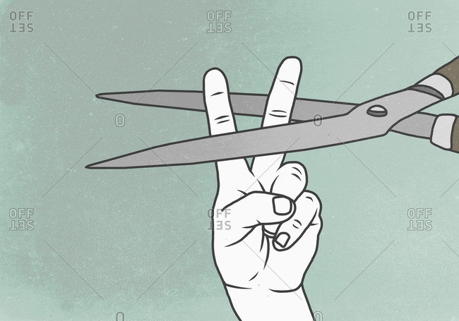Illustration of hand showing peace sign with scissors representing violence
