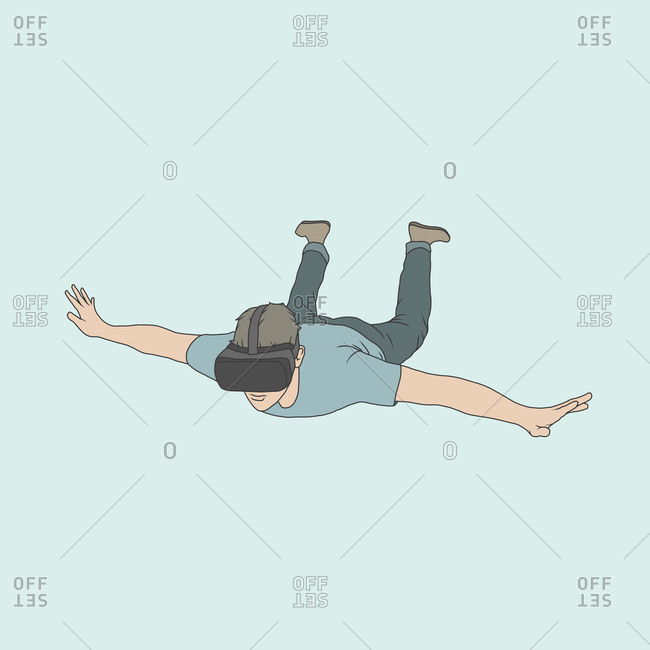 Illustration of man wearing virtual reality headset falling against colored background
