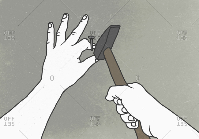 Illustration of hand hammering thumb on wall depicting pain