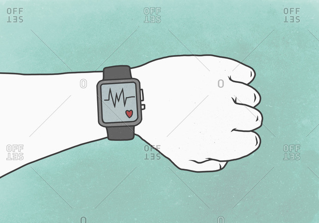 Illustration of hand wearing smart watch with pulse trace representing healthy lifestyle