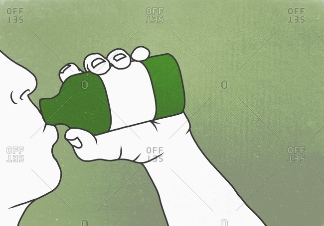 Illustration of man drinking poison against green background depicting suicide