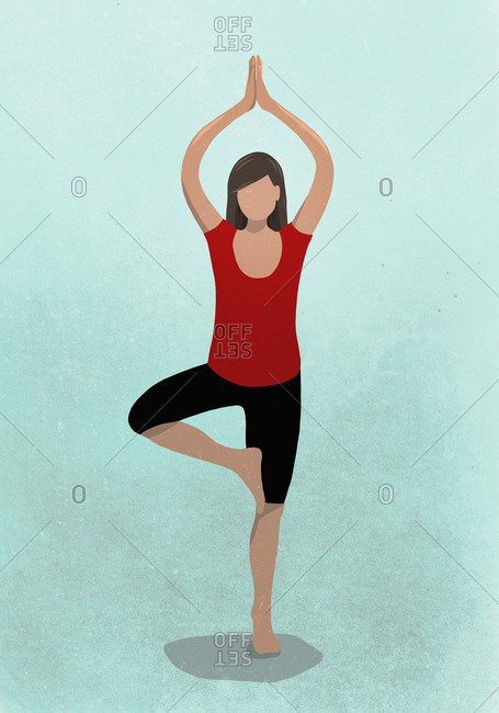 Vector image of woman practicing tree pose against blue background representing healthy lifestyle