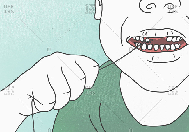 Illustration of man pulling teeth from string representing toothache