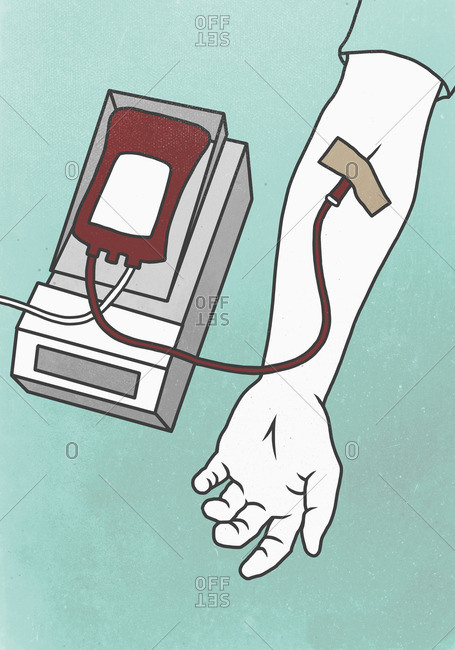 Illustration of hand with syringe representing blood donation
