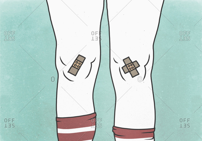 Illustration of bandages on knees against green background depicting pain