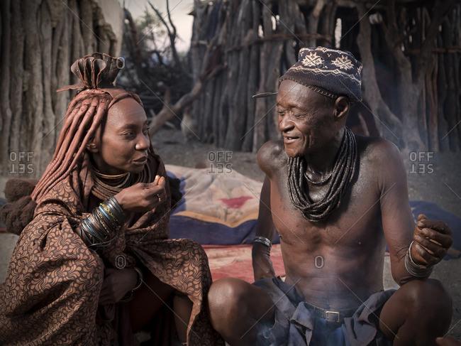Namibia - May 31, 2014: Man and woman of Himba tribe