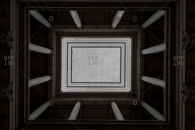 A ceiling supported by columns