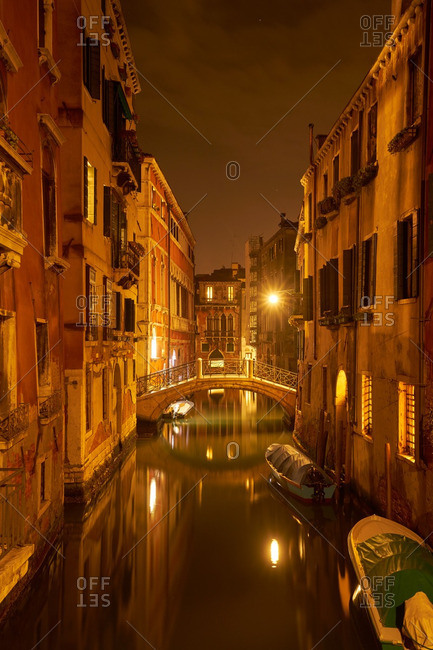 Venice canal at nighttime
