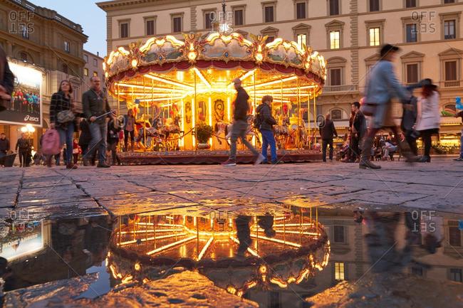 Florence, Italy - November 25, 2016: Carousel in the Piazza Della Republican