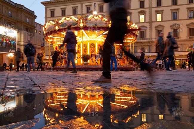 Florence, Italy - November 25, 2016: Carousel in Piazza Della Republican