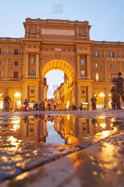 Florence, Italy - November 25, 2016: Arch in the Piazza Della Republican