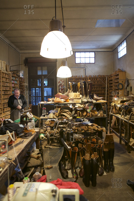 Buenos Aires, Argentina - May 23, 2016: Man in boot making workshop
