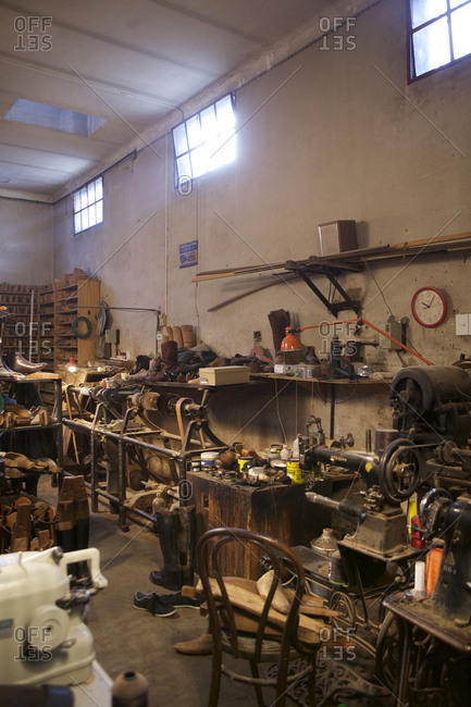 Buenos Aires, Argentina - May 23, 2016: A boots workshop interior