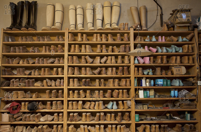 Buenos Aires, Argentina - May 23, 2016: Boot forms on a shelf