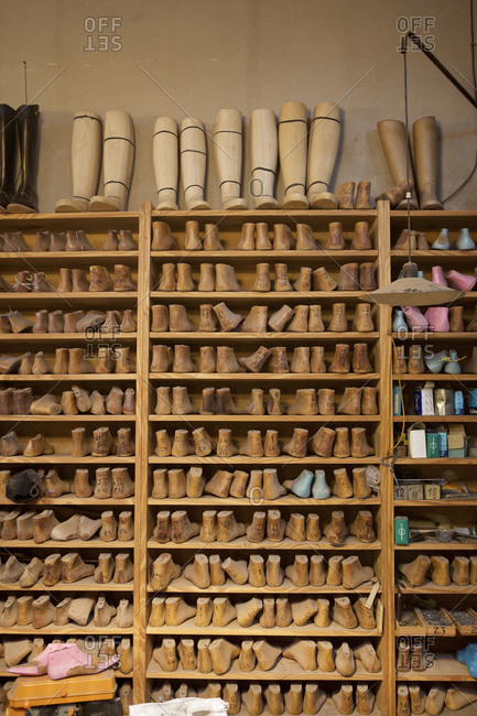 Buenos Aires, Argentina - May 23, 2016: Boot forms on shelves