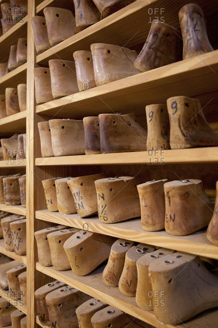 Boot forms on shelf in a workshop