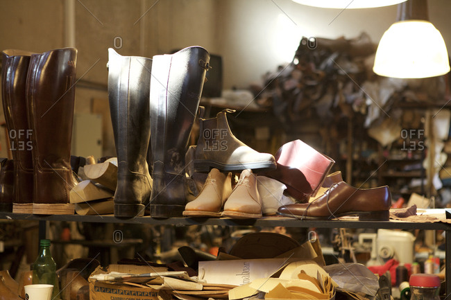 Buenos Aires, Argentina - May 23, 2016: Handmade boots on shelf