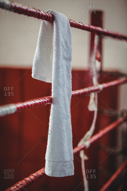 Towel on boxing ring at fitness studio
