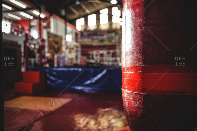 Close-up of red punching bags hanging on fitness studio