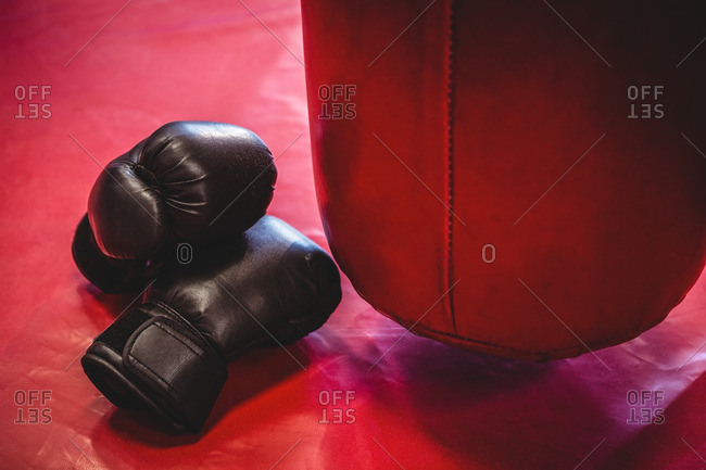 Boxing gloves and punching bag on red surface in fitness studio
