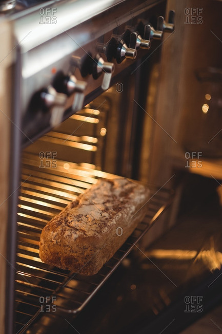 Baked bread in oven