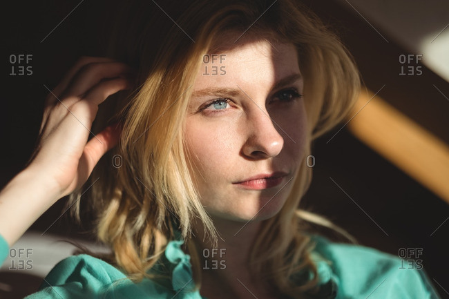 Close-up of thoughtful woman