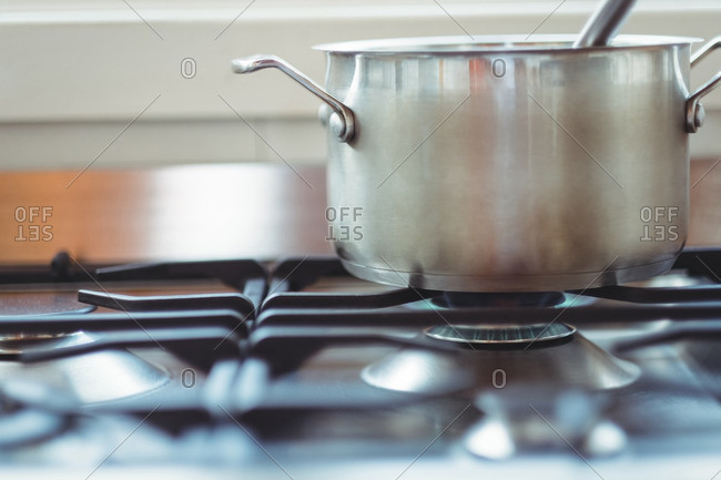 Cooking pot kept on a stove while cooking
