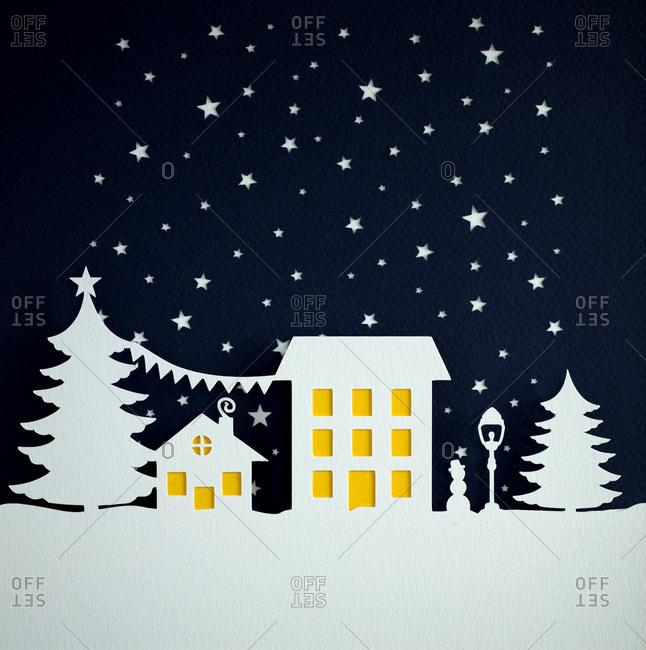 Nighttime Christmas scene