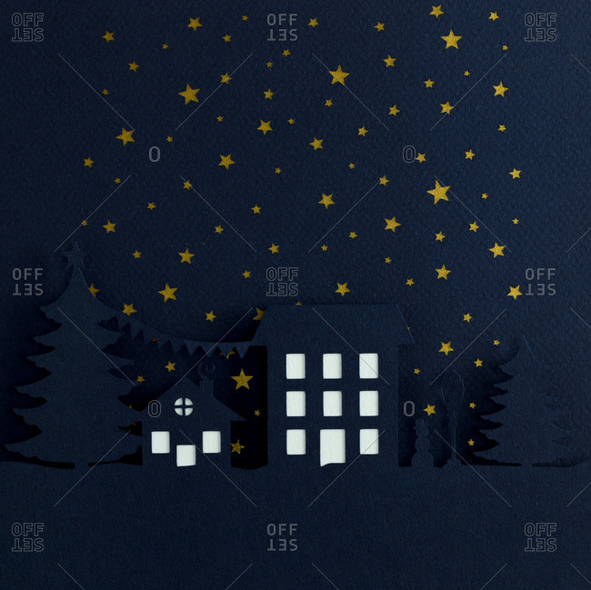 Nighttime Christmas scene with starry sky