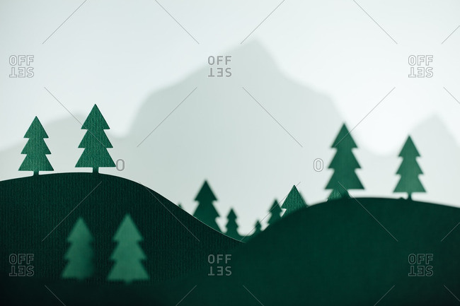 Pine trees in front of a mountain