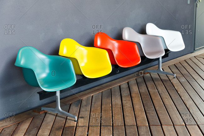 Weil am Rhein, Germany - June 7, 2016: Colorful row of seats at the entrance of the Vitra Design Museum