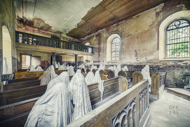 February 17, 2016: Abandoned church with shrouded ghostly figures