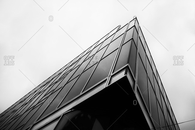 Corner of a modern steel and glass building