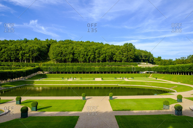 Pond and gardens at the Chateau de Villandry in the Loire Valley, France