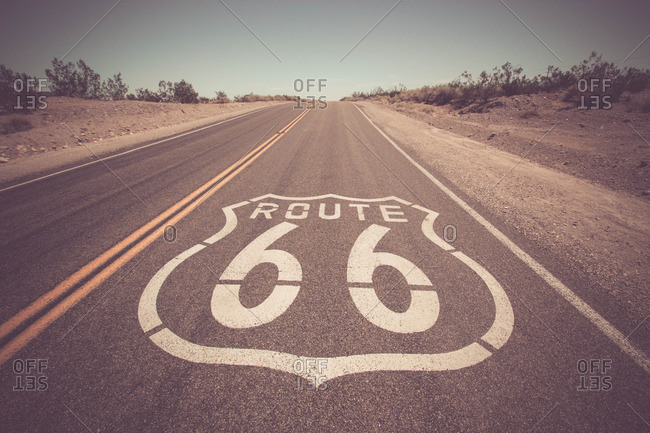 Route 66 symbol painted in a lane of the highway