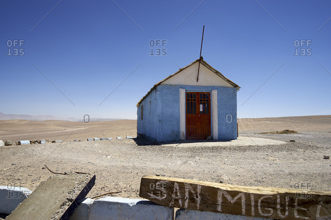 Isolated single room San Miguel Church at Atacama, Chile