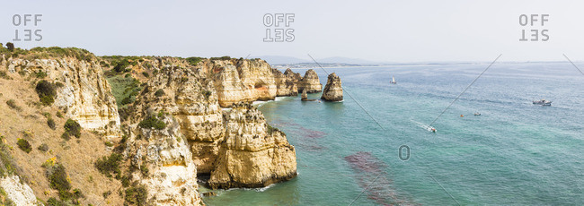 Lagos, Portugal - June 7, 2016: Coastline and rock formations at Ponta da Piedade