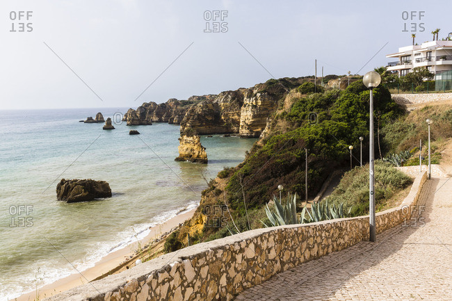 View from a walkway of the rock formations at Praia de Dona Ana, Lagos, Portugal