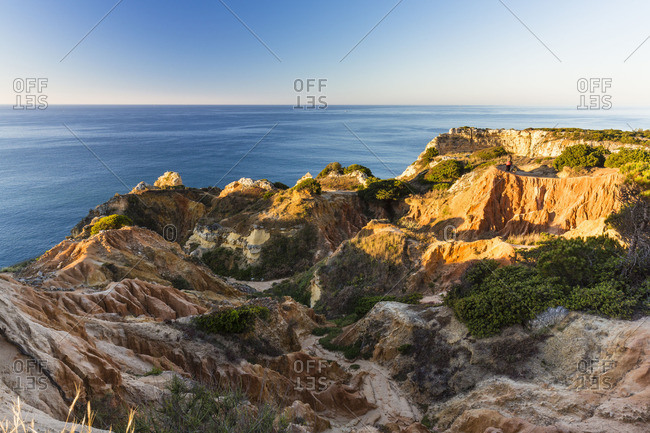 Rock formations and eroding landscape at Praia da Marinha, Lagoa, Portugal