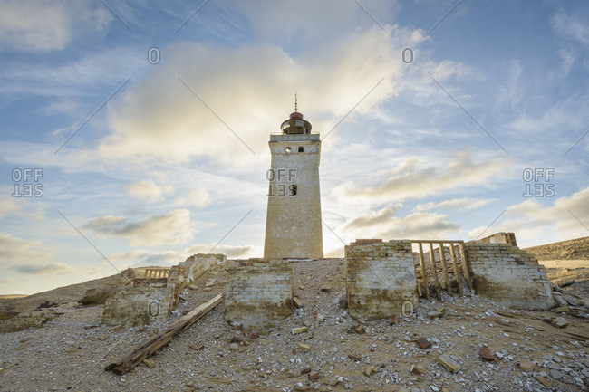 Ruins of the abandoned Rubjerg Knude lighthouse on a dune at Rubjerg, Denmark