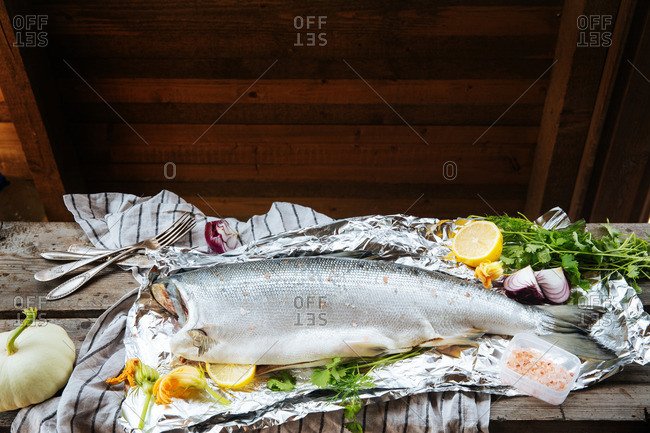 Fish meal being prepared on tinfoil