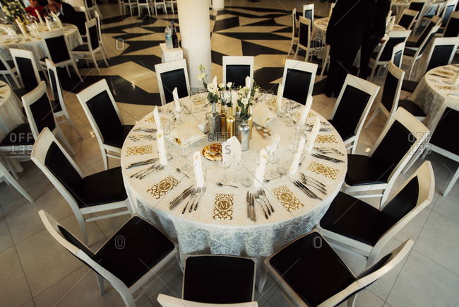 Round Table Ready For Wedding Reception Stock Photo Offset