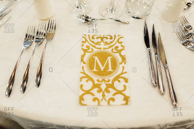 Formal place setting for wedding reception