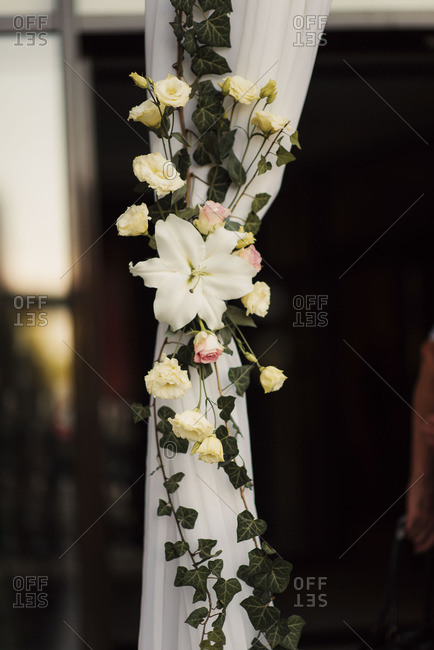 Flowers and vines on hanging cloth