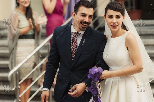 Happy bridal couple after wedding