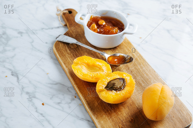 Apricots with homemade apricot jam
