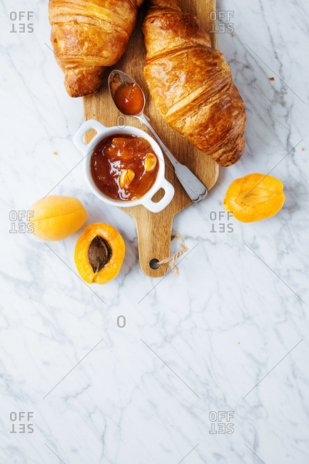 Croissants with apricots and homemade apricot jam